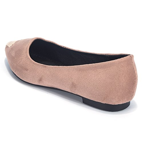 FLORATA Women's Nude shoes-Pointed Suede Metal Decoration Toe Cap Flat Clip On Pink YvFYb