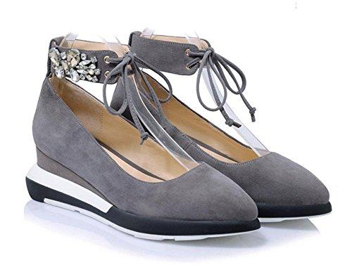 de calza zapatos zapatos con principales las los cuero mate de mujeres elevador la zapatos del los diamante baja pendiente Spring boca cordón las redondos de zapatos del del Ms grey mujeres de 5Xwq4HR