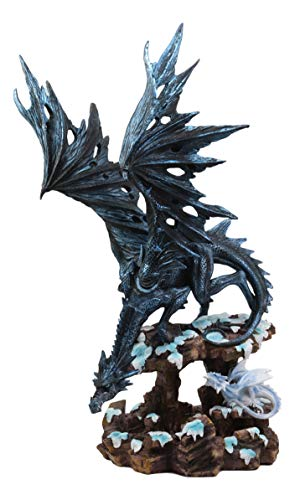 """Ebros Large Night Fury Winter Dark Dragon with Frozen Ice White Baby Dragonling Hatchling Statue 18.5"""" Tall Dungeons Dragons Fantasy Home and Garden Decor Sculpture Medieval Renaissance Figurine from Ebros Gift"""