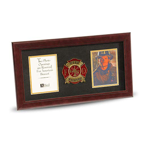 Firefighter Wood Frame - Allied Frame US Firefighter Medallion Double Picture Frame - Two 4 x 6 Photo Openings