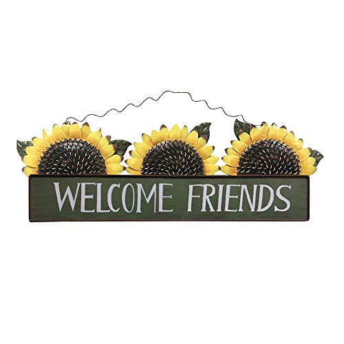E-view Sunflower Welcome Sign Decorative Vintage Metal Wall Hanging Home Garden Decor - Welcome Plaque for Front Door, Garden Themed Welcome Friend