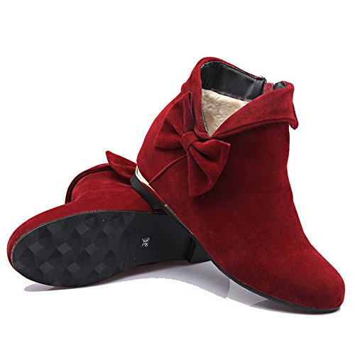 AllhqFashion Womens Solid Imitated Suede Kitten-Heels Zipper Round Closed Toe Boots Red gujnd