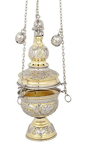 Two Colored Brass Christian Church Thurible Incense Burner Censer (127 GN)