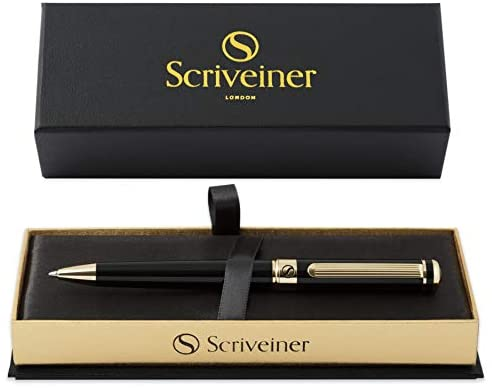 Black Lacquer Ballpoint Pen Scriveiner - Stunning Luxury Pen with 24K Gold Finish, Schmidt Black Refill, Best Ball Pen Gift Set for Men & Women, Professional, Executive, Office, Nice Pens