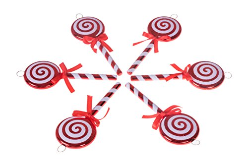 (Clever Creations Christmas Lollipop Ornament Set Red and White Candy Cane Design | 6 Pack | Festive Holiday Décor | Timeless Classic Design | Shatter Resistant | Hangers Included | 5