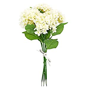 123 TEST 4PCS Artificial Flowers Plastic Silk Artificial Fake Hydrangea Flowers Silk Bouquet for Wedding, Room,Home, Hotel,Party,Office, Garden Craft Art Decoration (White) 1