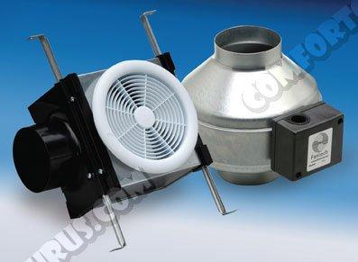 """Fantech Inline Exhaust Bath Fan Kit, 110 CFM, Remote Mount Fan, for 4"""" Duct"""