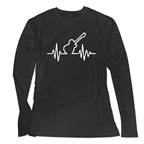 Guitar Heart Beat Custom Lightweight Long Sleeve Crew Neck T-Shirt for Women's Tees Tops