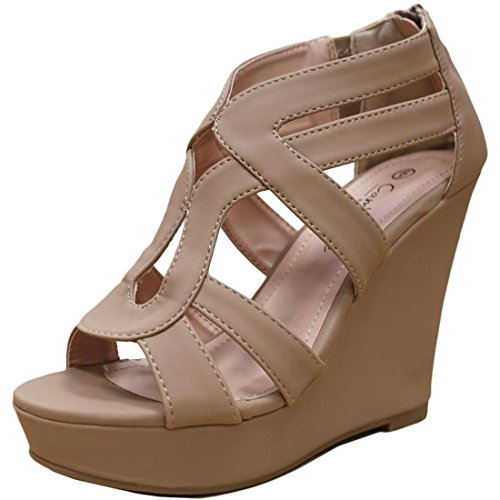 Strappy Zipper (Cambridge Select Women's Strappy Open Toe Platform Wedge Heel Sandal (7 B(M) US, Taupe))