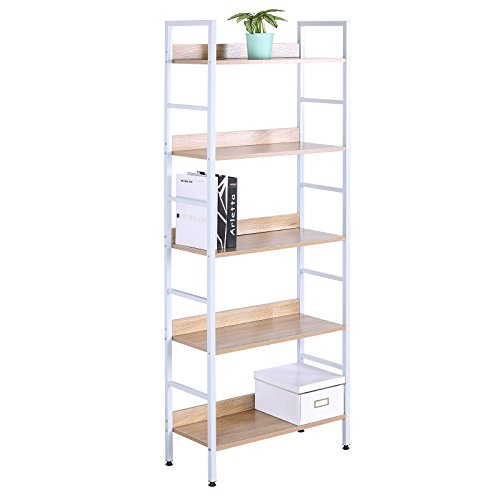 WOLTU 5 Shelves Bookshelf Wood Bookcases, Cabinets & Shelves for Corner and Library Bookcase Furniture Freestanding Display Shelf White Wood by WOLTU