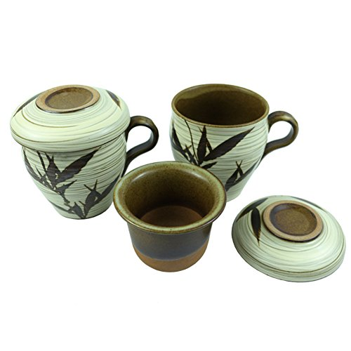 Set of 2, The Elixir KOYO Handmade Ceramic Kung Fu Tea Cup Procealin Tea Cup with Infuser Lid Sets - Chinese Ceramics Coffee Mug Loose Leaf Tea Brewing System by The Elixir Eco Green