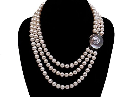 Mabe Clasp - JYX Triple-strand 8-9mm White Round Freshwater Pearl Necklace with Mabe Clasp