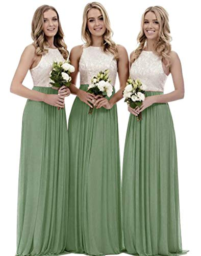 Women's A Line Chiffon Wedding Party Dress Lace Long Two Pieces Bridesmaid Dresses Sage Green Size 6