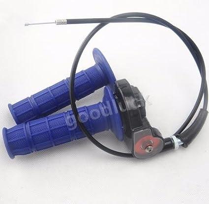 huopu 1/4 de vuelta de acció n rá pida del acelerador azul mano Grips & cable para pit dirt bike atv