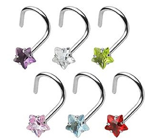 18G Star 3mm Prong Set Gem 316L Surgical Steel Nose Screw - Sold Individually (Clear)