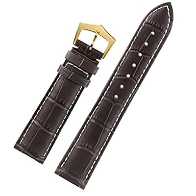 Premium Outstanding Dark Brown Watch Strap Italian Calfskin Leather White Contrasting Stitch Gold Pin Buckle