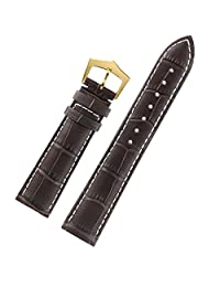 Superb Italian Leather 22mm Watch Strap Dark Brown White Contrasting Stitching Top Layer Calfskin Gold Buckle