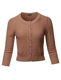 A2Y suéter de punto con cuello redondo y botones de manga 3 4 para mujer