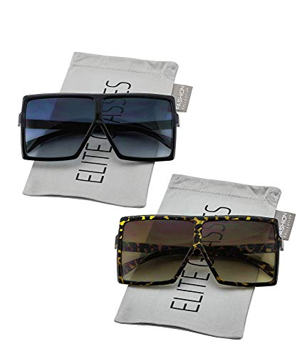 Oversized Exaggerated Flat Top Huge SHIELD Square Sunglasses Colorful Lenses Fashion Sunglasses (2 PACK: Black and Tortoise/Brown) (Sunglasses Brown Plastic Tone Two)