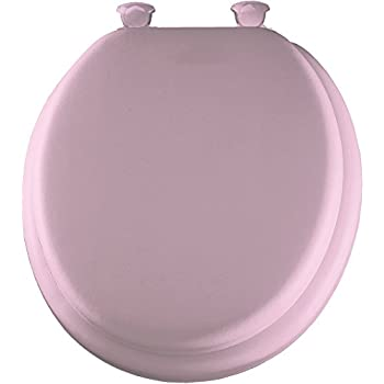 Mayfair 13EC 023 Soft Toilet Seat with Molded Wood Core and Easy-Clean & Change Hinges, Round, Pink