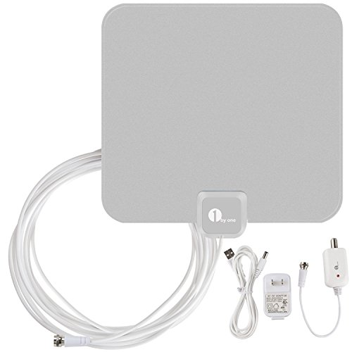 1byone 40 Miles Amplified HDTV Antenna with USB Power Supply 16.5 Feet Coaxial Cable - (Go Hdtv Cable Kit)