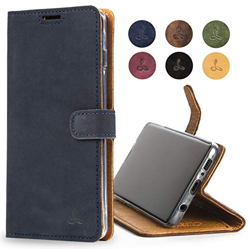 Snakehive Samsung Galaxy S10 Plus Case, Luxury Genuine Leather Wallet with Viewing Stand and Card Slots, Flip Cover Gift Boxed and Handmade in Europe for Samsung Galaxy S10 Plus - (Navy)