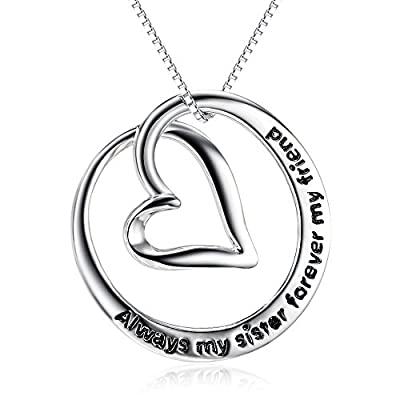 "Sterling Silver ""Always My Sister Forever My Friend"" Love Heart Pendant Necklace, 18"""