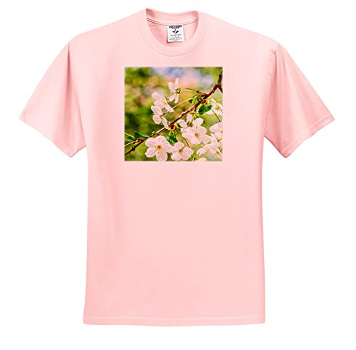 3dRose Alexis Photography - Flowers Cherry - Beautiful Cheerful Cherry Blossoms, Green, Blue, Beige Background - T-Shirts - Adult Light-Pink-T-Shirt Large (TS_271723_36) Cheerful Blossoms