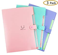 AMESSE 5 Pockets Placstic Expanding File Folders with Snap Button ClosureDURABLE MATERIAL Made of high quality Polypropylene (PP) material (nontoxic and nonradioactive),waterproof, not easy to break and deformation, can stand up to repeated w...