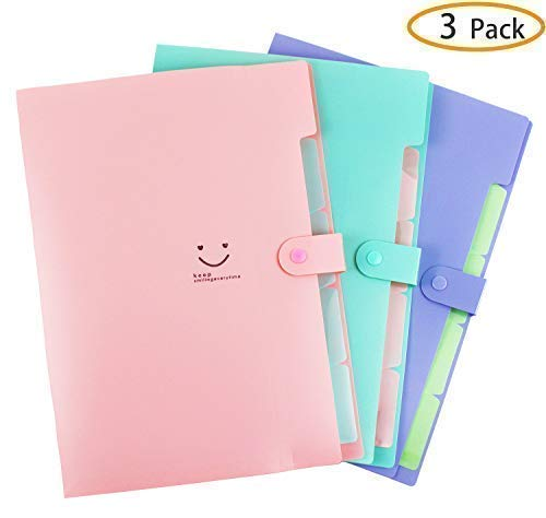 Placstic Expanding File Folders Accordion Document Organizer,5-Pocket,A4 Letter Size,Snap Closure,School and Office Use,3-Pack ()
