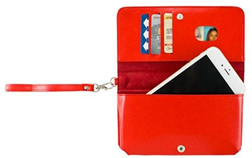 (Cellular Accents Compatible Phone Wallet Cash Zipper Stash Pouch Case Fits LG G6 Plus Q8 V20 K10 K20 V Plus X Venture X Power Harmony Stylo 3 Plus 3 HTC U11 U Play Bolt Desire 10 Pro Lifestyle (Red))
