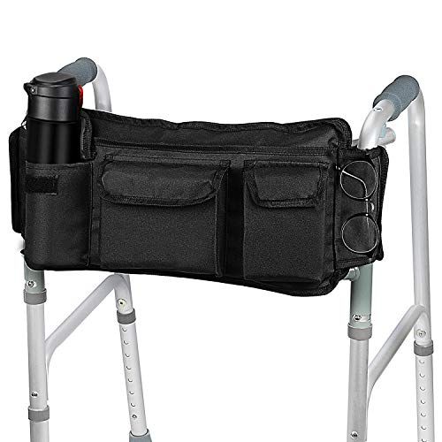 SupreGear Walker Bag, High Quality Folding Walker Basket Organizer Pouch Tote for Any Walker Style Rollator and Wheelchair (Black)