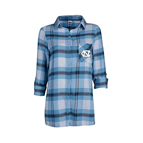 Concept Sport North Carolina Tar Heels Womens Long Sleeve Team Pride Flannel Button Up - Carolina Blue, Womens Small