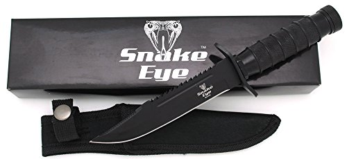 Snake Eye Tactical Fixed Blade Hunting Knife w/Survival Kit & Sheath Camping Fishing Matches Fish Hooks Needles Compass (Black) ()