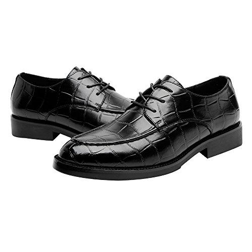 Low Tomaia uomo Nero Scarpe in Uomo Dimensione quadrata alto pelle Scarpe Blk Pelle Loafer foderato traspirante Business PU 2018 shoes in Oxford 41 EU Top Loafer Texture Opzionale Color Jiuyue da qvxZI4w4