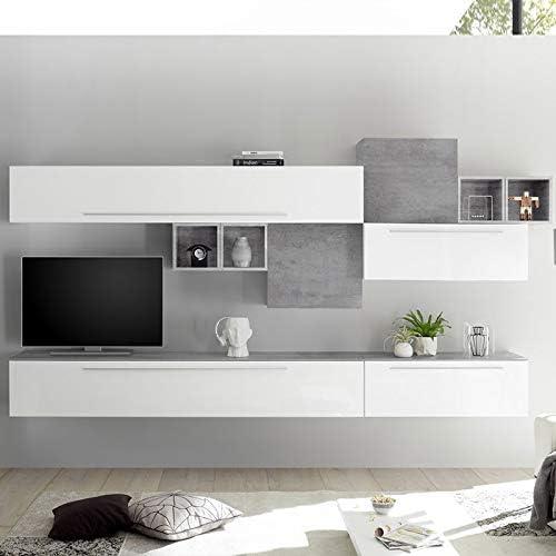 Noviomeuble - Mueble para TV de pared, color blanco y gris claro ...