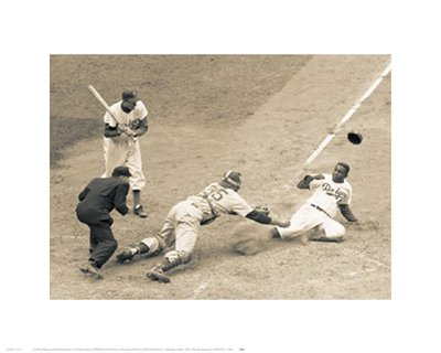 """Bruce Teleky Jackie Robinson Stealing Home, May 18, 1952 by Bettman Archive 15.5""""x11.5"""" Art Print Poster from Bruce Teleky"""