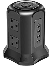 Multi Plug Vertical Tower Power Strip,Tower Extension Lead,Socket Surge Protector,With 4 USB Charging Ports, for Home/Office