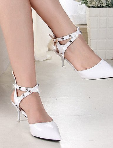 ShangYi Shoes amp; Red White Toe Casual White Heels Leatherette Heels Office Wedding Pointed Heel Stiletto Women's Career r5wHPxgqr