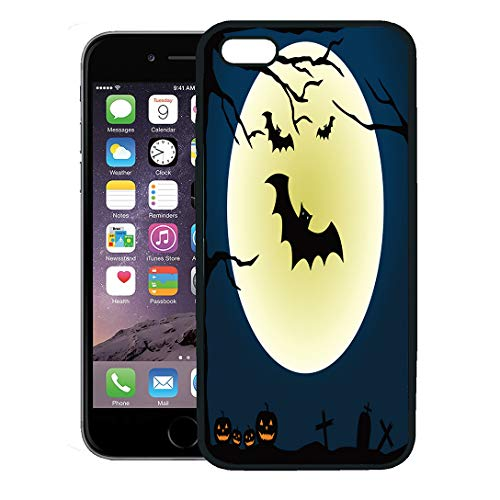 Semtomn Phone Case for iPhone 8 Plus case Cover,Orange House Halloween Pumpkins Bat and Moon Abstract Autumn Black,Rubber Border Protective Case,Black -