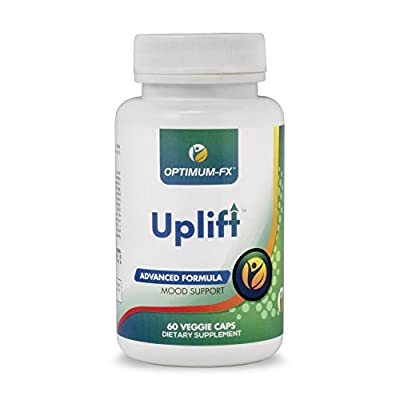 Uplift Herbal Mood Supplement with DMAE, Ashwagandha, B Complex Vitamins, GABA, Magnesium, 5 HTP & Chamomile | Supports Healthy Mood & Aids in Temporary Stress Symptoms | 60 Capsules