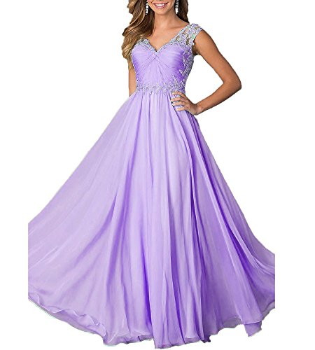 Beauty Bridal V Neck Chiffon Formal Lace Party Prom Gown Evening Dress Long(2,Lavender)
