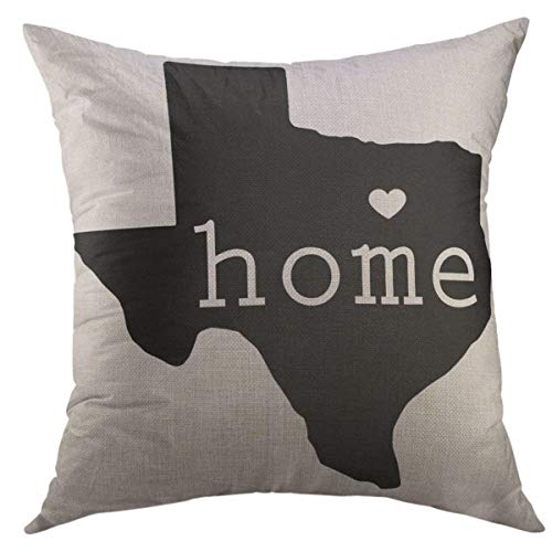 Mugod Decorative Throw Pillow Cover for Couch Sofa,Blue Shape State of Texas Map Dallas Home Decor Pillow case 18x18 Inch