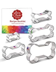 """Ann Clark Cookie Cutters 5-Piece Dog Bone and Biscuit Cookie Cutter Set with Recipe Booklet, 2"""", 3 1/8"""", 3 1/2"""", 4"""", 5"""""""