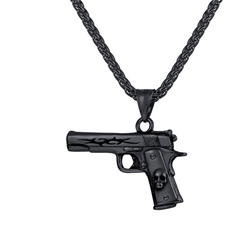 (U7 Men Cool Punk Skull M9 Rifle Shape Pendant & Chain Ion-Plating Black Metal Stainless Steel Rock Army Style Personalized Necklace Jewelry,Chain 22
