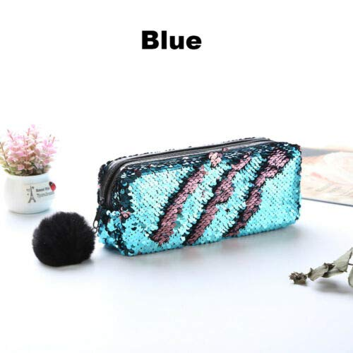 Glittering Sequins Pencil Case Cosmetic Bag Mermaid Makeup Pouch Plush Ball (color - blue)