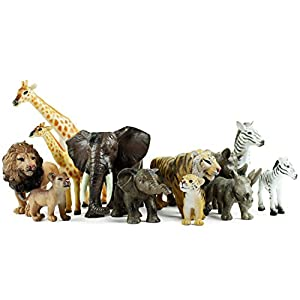 Boley 12 Piece Safari Animal Set – Different Varieties of Zoo Animals, Jungle Animals, African Animals, and Baby Animals…