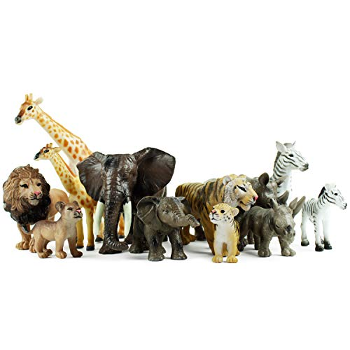 Boley 12 Piece Safari Animal Set - Different Varieties of Zoo Animals, Jungle Animals, African Animals, and Baby Animals - Great Educational and Child Development Toy for Kids, Children, Toddlers ()