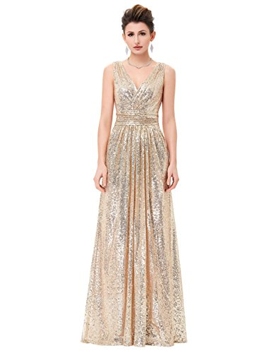 MEI abito Palla abito amp;S Vintage Party maxi Gold elegante Light lunga sera Prom Donna TWqaRr6T