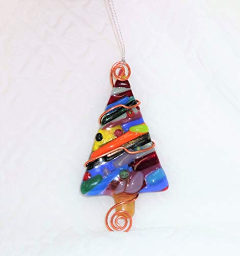 Patchwork Fused Glass Dichroic Christmas Tree Sun catcher ()